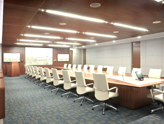 Fabric Wrapped Acoustic Panels in Conference Room