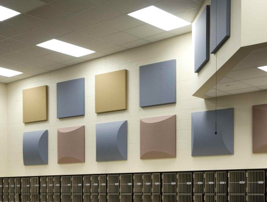 Fabric Wrapped Acoustic Panels in School.