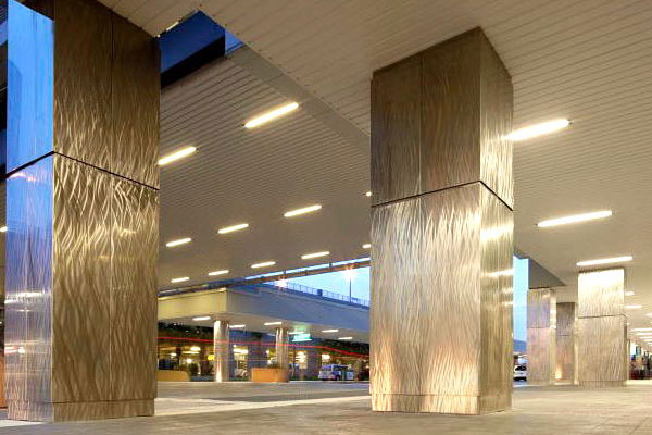 Patterned Brushed Stainless Steel Column Covers